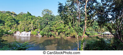 Sai Yok Yai waterfall with Suspension bridge - Panorama Sai...
