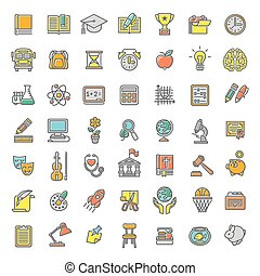 Flat Line Colorful School Subjects Icons - Set of modern...