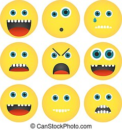 Collection of 4 isolated yellow emoticons with different expressions