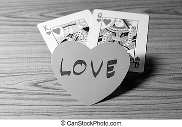 heart and king queen card black and white color tone style -...