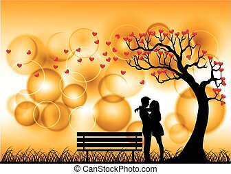 Dating Couple Silhouette Under Love