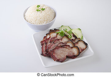 BBQ pork - pork. BBQ Pork and Crispy Pork with Rice.