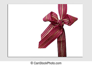 Invitation with bow - Classic maroon and gold ribbon bow on...