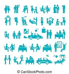 Big set of icons illustrating different relationships...