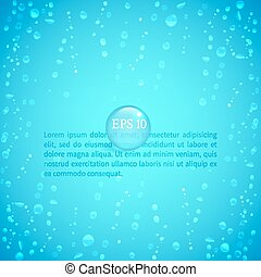 Waterdrops - Drops of water on glass on a blue background to...
