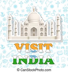 Visit India Sticker - illustraion of sticker of visit India...