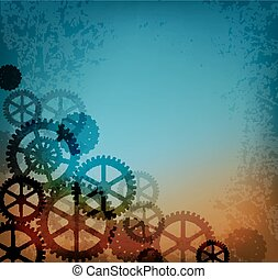 Abstract industrial background in the style of steampunk