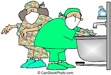 Surgery Prep - This illustration depicts a doctor and nurse...