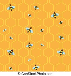 pattern of the bee on honeycombs background - pattern of the...