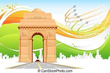 India Gate on Tricolor Background