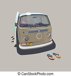 Surfer van beach poster for t-shirt graphics. Transportation...