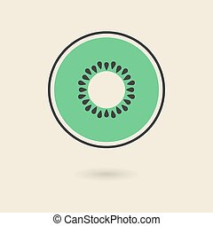 kiwi icon with shadow isolated on stylish background logo...