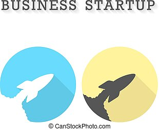 business startup with two rocket take off icons concept of...