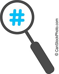 magnifier with blue hashtag icon concept of social media and...