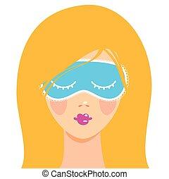 sleep mask - Sleep mask Sleeping woman in a mask to slee
