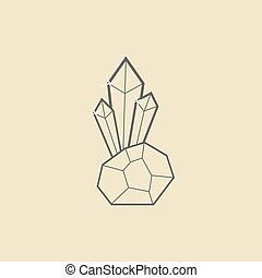 outline crystal with stone on dark yellow background concept...