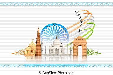 India Background - illustration of airplane making Indian...
