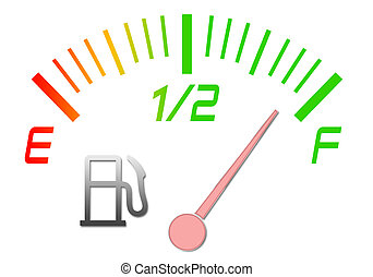 Fuel gauge - Illustration of the gauge of fuel with an arrow...