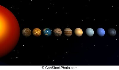 planets  - The sun and the planets on a black bottom