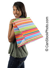 Happy shopper with colorful bag - A very happy shopaholic...
