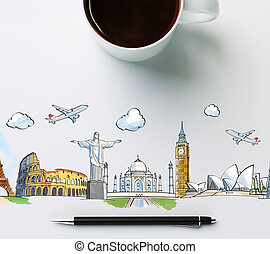 travel landmarks with cup of coffee and pen, concept