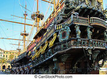 Galleon resting after so many battles - in the port of Genoa...