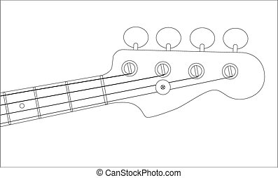 Bass Headstock Outline - A generic bass guitar headstock...