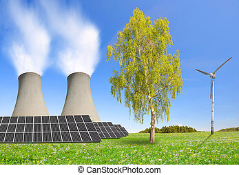 Energy resources concept - Nuclear power plant solar panel...
