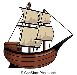 Pirate ship cartoon illustration