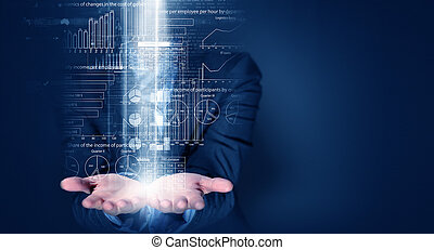 Presenting technologies - Close up of businessperson holding...