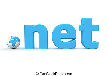 Top-Level Domain - World Dot Net - blue 3D globe with...