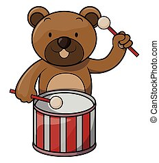 Bear playing drum
