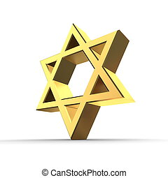 Shiny Golden Star of David - shiny 3d Star of David made of...