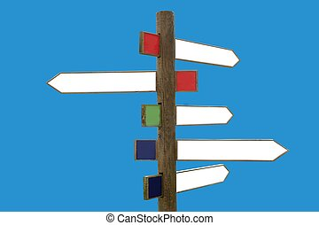Crossroad wooden directional arrow signs copy space