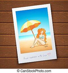 ragazza, su, il, tropicale, spiaggia,