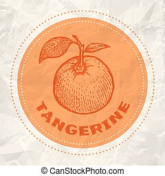Vintage logo of tangerine on crumpled white paper