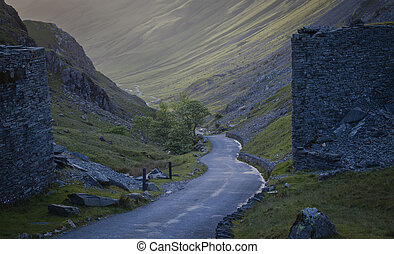 A landscape with road down the Honister pass in Lake...