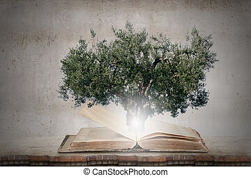 Reading and self education - Conceptual image with green...