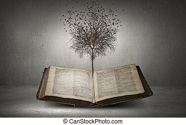 Reading and self education - Conceptual image with dry tree...
