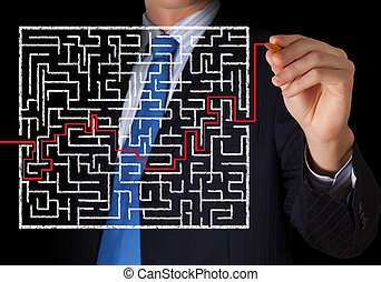 Searching way out - Close up view of businessman drawing way...