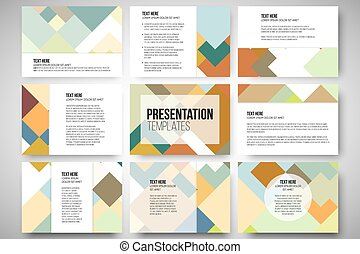 Set of 9 templates for presentation slides. Abstract colored...