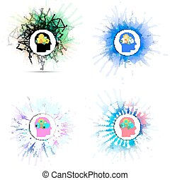 Vector icons set of human head with gears