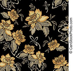 Seamless black background with yellow flowers.eps