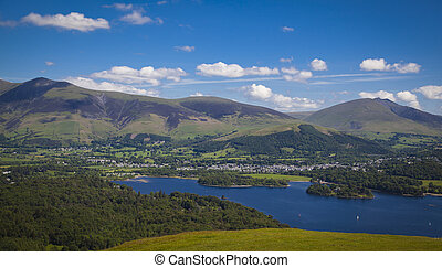View from Catbells down to Derwentwater and Keswick and the...