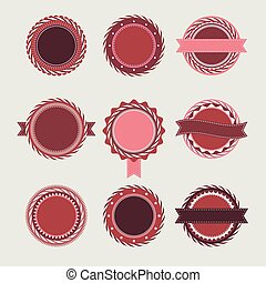 Wine vintage badges templates - Collection of wine vintage...