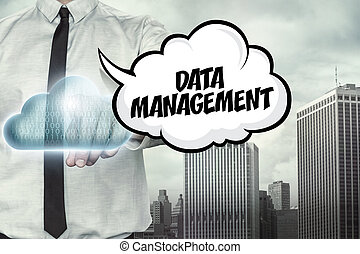 Data management text on cloud computing theme with...