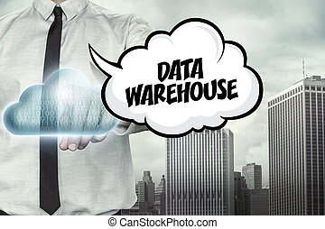 Data warehouse text on cloud computing theme with...