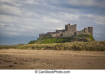 Bamburgh Castle and beach in Northumberland