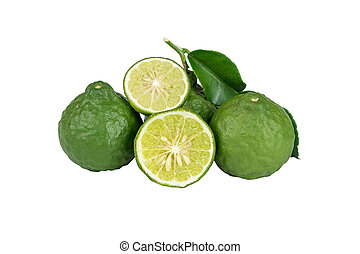Bergamot - Bergamot and kaffir lime leaves on white...