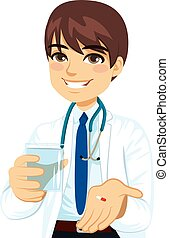 Doctor Giving Pill - Young confident male doctor offering...
